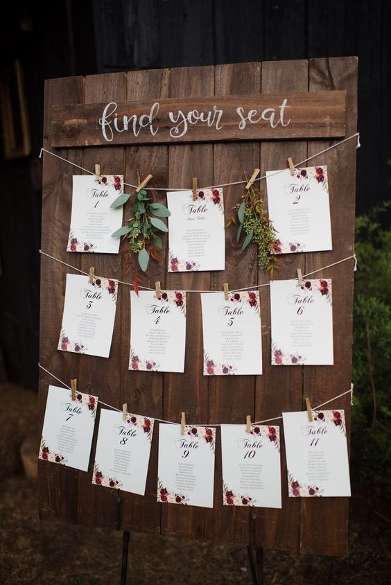 This seating chart is just simple and sweet! #cedarwoodweddings 10.21.17 :: Mall...