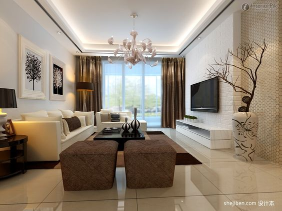 Gypsum board in the living room tv wall design effect for Drywall designs living room