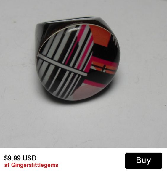 Black chunky Lucite ring, size 7, red white black geometric Lucite retro vintage plastic ring, retro hipster jewelry, Gi