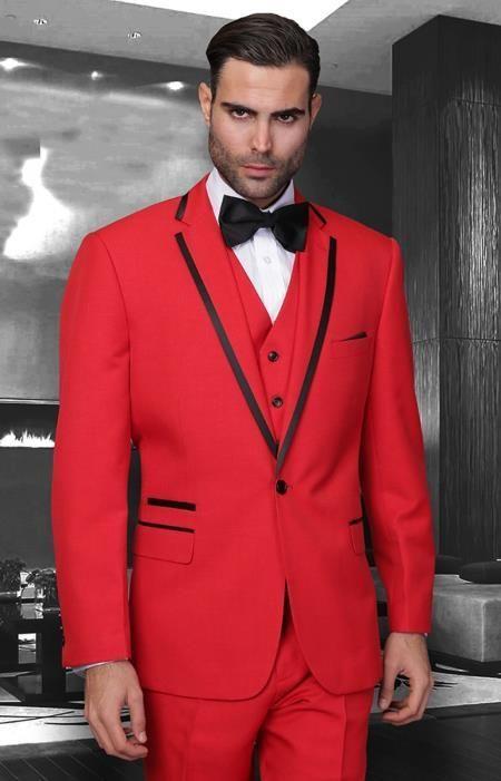 SKU#KA6478 Mens Red Black notch lapel Slim Fit 2 Pc Tuxedo Suit