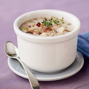 Simple Clam Chowder:  This clam chowder recipe is easy and tastes even better the next day. Want to talk about health benefits? The protein in the milk benefits hair and skin, and the vitamin B12 from the clams and B6 from the potatoes nourish hair. Garnish with additional fresh thyme.