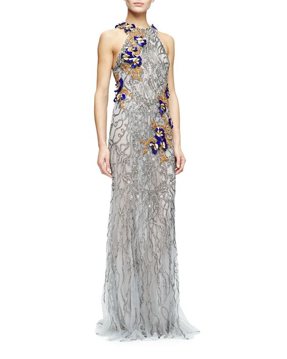 Monique Lhuillier Sleeveless Embroidered Column Gown, Gunmetal