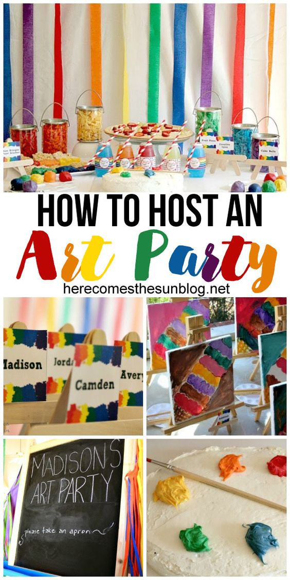 Kids Craft Party Ideas Part - 25: How To Host A Fun Art Birthday Party! I Love All These Ideas.