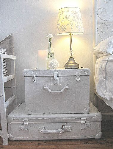 old luggage painted white ... so i don't need to find the perfect look in an old suitcase...just paint it!  duh!