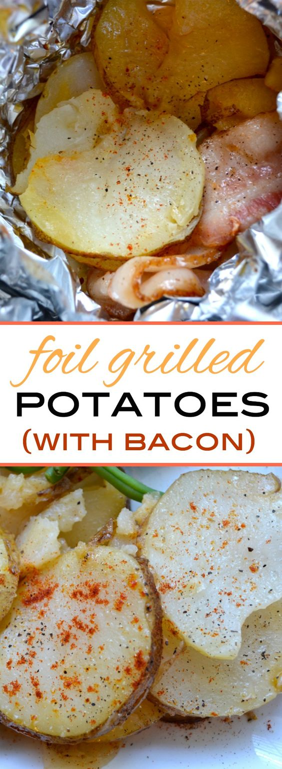 These grilled potatoes are cooked in foil with onions, bacon, olive ...