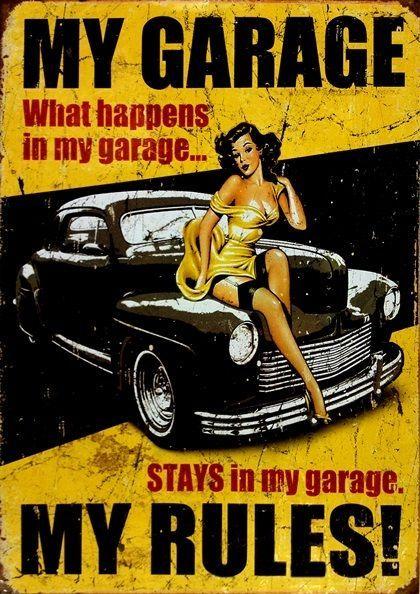 My Garage My Rules Poster Retro Vintage Design Inspirational Art Print Decor Vintage Posters