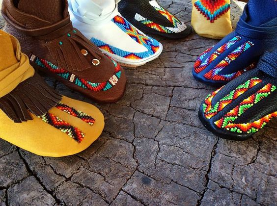 """Authentic, Native-made, hand-beaded moccasins. Our """"Lil Toes"""" Heirloom Moccasin collection can be purchased at www.LLDesignsSTore.com"""