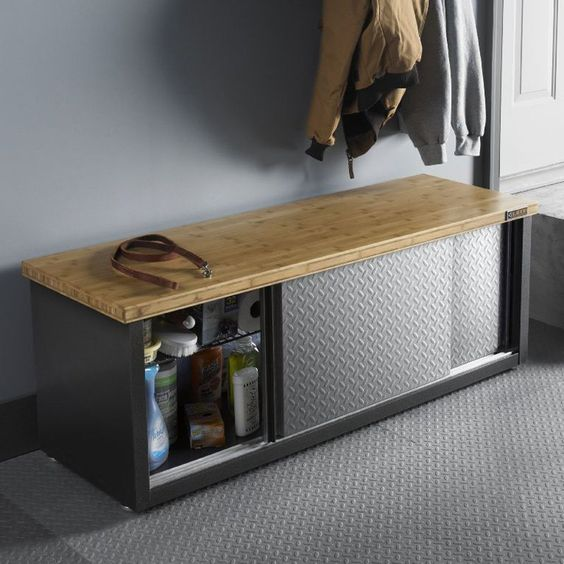 Gladiator Storage Bench - It's a seat, it's an organizational tool … it's the Gladiator Storage Bench and it makes a great addition to any garage or workshop. This sturdy...