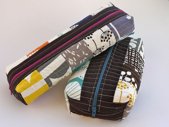 Two Patchwork Boxed Pouches by terrabytefarm, via Flickr