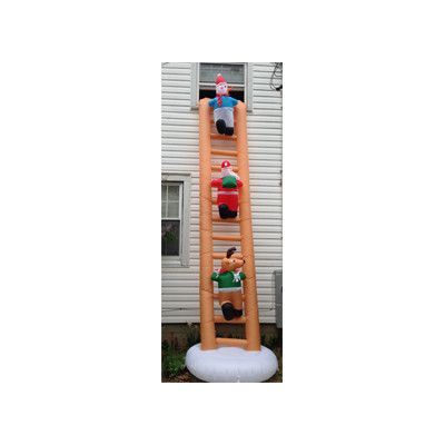LB International Inflatable Santa on Ladder Christmas Decoration