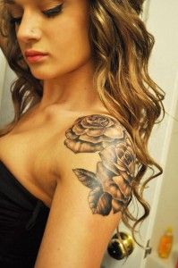 Rose Shoulder Tattoo - Shoulder is a small area for tattooing compared with back