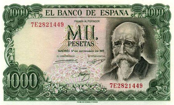 José Echegaray. 1000 pesetas