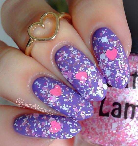 SweetHeart: Pink & White Glitter Nail Polish Lacquer- Indie Nail Polish Custom Handmade Glitter Topper