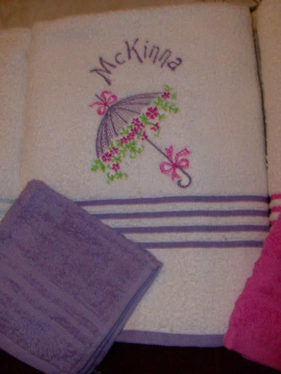 Consider a pretty bath set for your child's birthday or Christmas gift. The towel sets are personalized with your child's name and favorite design. Visit Zibbet.com and the shop name is LittleLoveStitches.