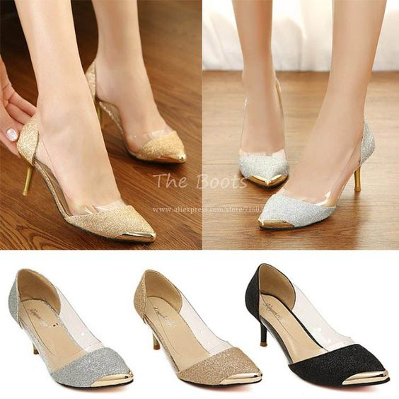 Low Kitten Heel Pointed Toes Metal Toe Pump Black Gold Silver ...