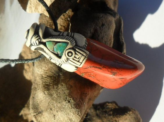 Red Jasper pendant with Turquoise / red jasper / red by Khayanite, $30.00