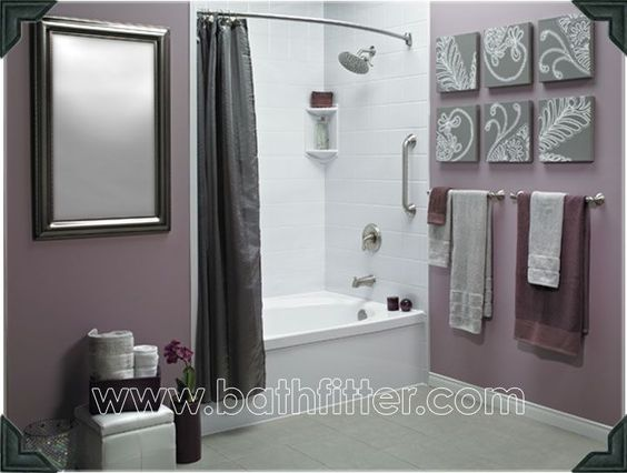 Love the grey and purple together could diy some artwork for Purple and grey bathroom ideas