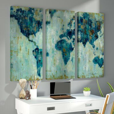 Brayden Studio Map Of The World 3 Piece Painting Print On Canvas Set Wayfair Ca Three Canvas Painting 3 Piece Painting 3 Piece Canvas Art