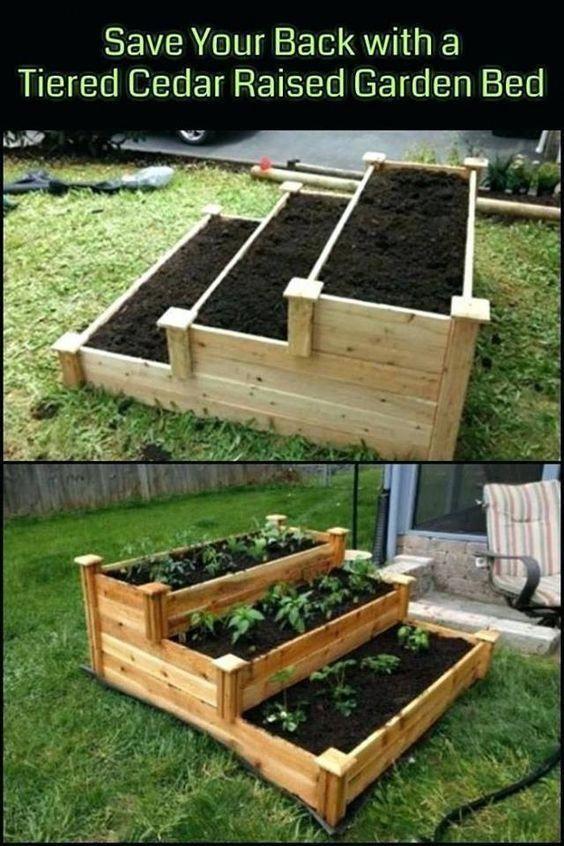 Tiered Cedar Raised Garden Bed Diy, Diy Cedar Raised Garden Planter