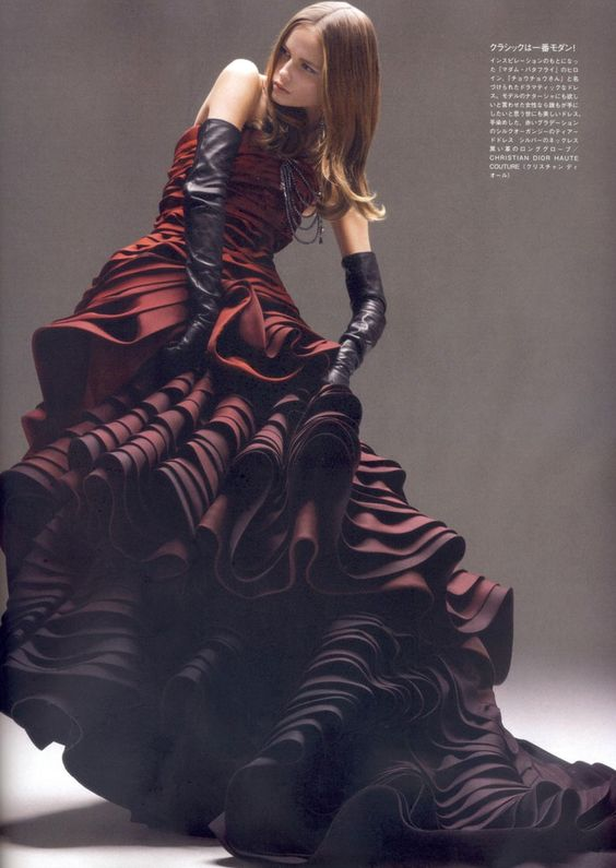 Couture at the Door  Vogue Nippon, May 2007  Photographer: Horst Diekgerdes  Model: Natasha Poly