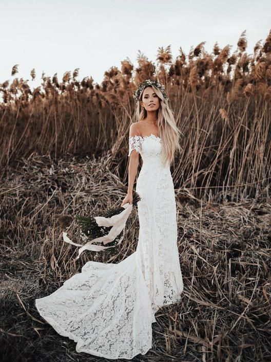 Ivory Mermaid Lace Rustic Wedding Dresses Illusion Neckline Beach