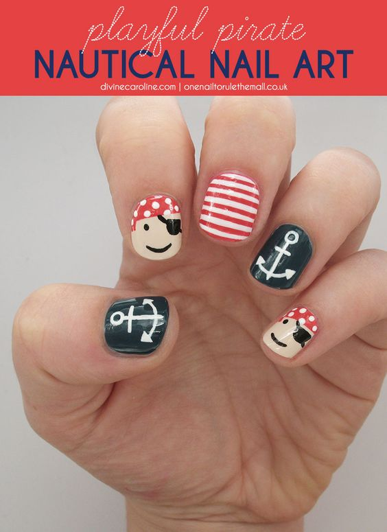 Arrgh! Paint your nails pirate. Get this natural nail art tutorial here. #divinecaroline #nailart