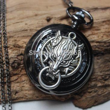 Vintage Silver Wolf Head Charm black pocket watch. #pocketwatch #wolf #gothic #whitewolfwatchshop