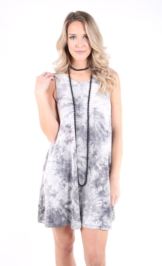 Salt & Pepper Tie Dye Dress