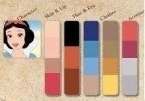 As cores das princesas Disney: 1° coluna pele e lábios, 2° coluna cabelos e olhos, 3° e 4° colunas roupas e 5° coluna acessórios