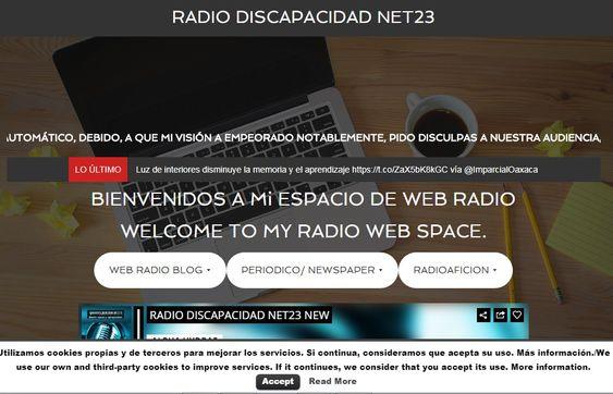 Web, principal de Blogspot de Radio Discapacidad Net23/RadioDiscapacid