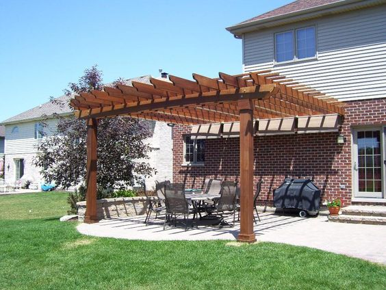 This Ipe Brazilian Walnut Pergola In Lemont Il Is The
