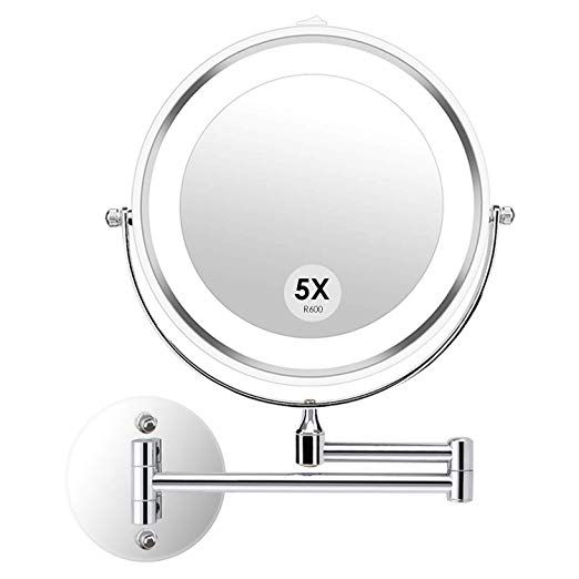 Alvorog Wall Mounted Makeup Mirror Led Lighted Double Sided 5x Magnification 360a Swivel Extendable Cosmetic V Wall Mounted Makeup Mirror Mirror Makeup Mirror