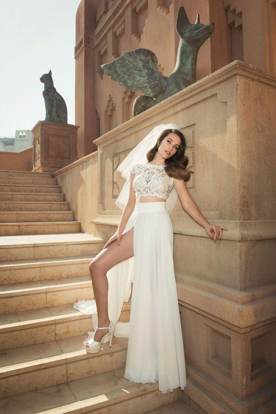 Crop top wedding dress OVED COHEN SUMMER 2016 BRIDAL COUTURE www.elegantwedding.ca