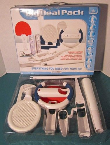 Wii Big Deal Pack 13-in1 Baseball Tennis Golf Racing Pool Fishing Table Tennis  Listed for charity