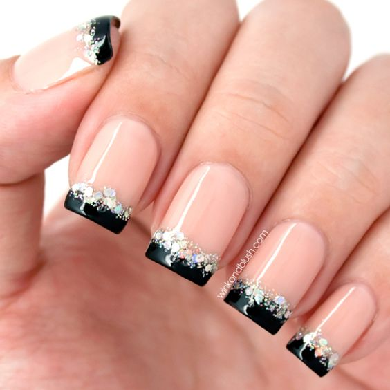 nude with black french tips holographic glitter accents