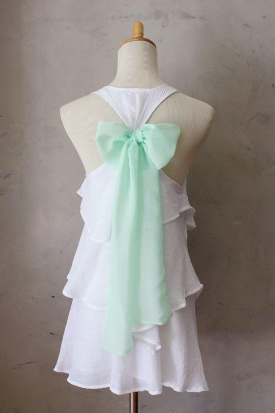 White ruffles, mint bow LOVE
