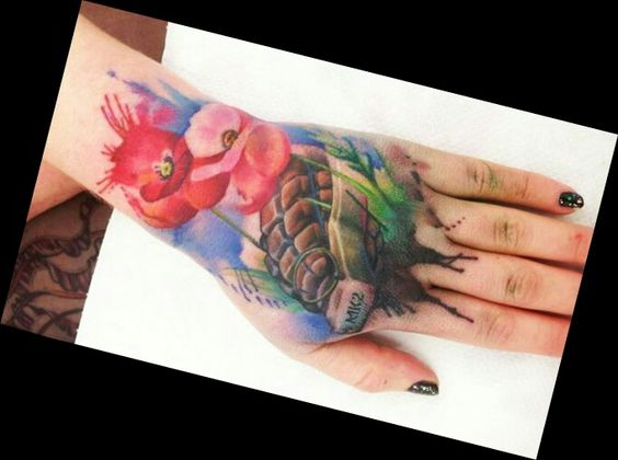 Watercolor hand grenade and flowers by Liane Moule