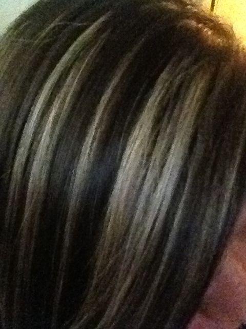 Grey Highlights On Dark Brown Hair Google Search A