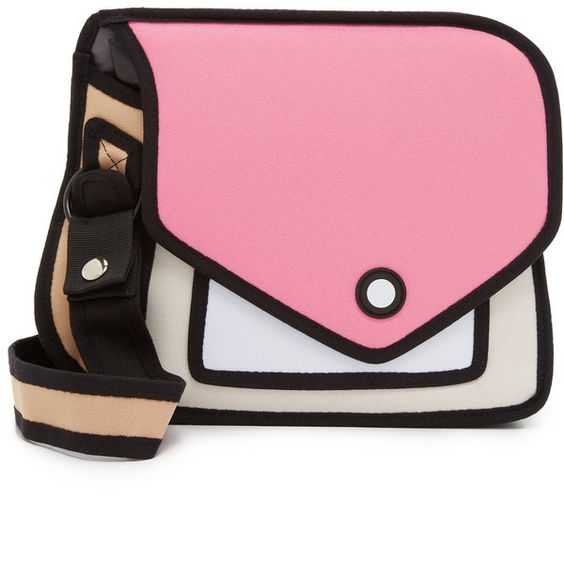 Jump From Paper Giggle Cross Body Bag (€65) ❤ liked on Polyvore featuring bags, handbags, shoulder bags, pink, flap crossbody, zipper purse, pink purse, pink crossbody and pink handbags