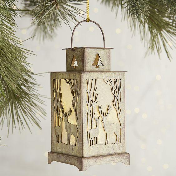 Birch Deer LED Lantern Ornament Tan