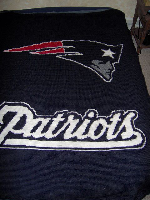 crocheted afghan with nfl logos Crocheted New England Patriots ...