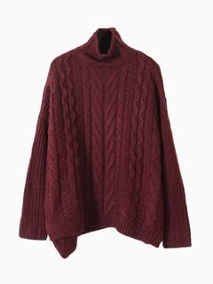 Shop Winered Cable Roll Neck Jumper from choies.com .Free shipping Worldwide.