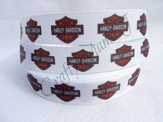 Harley Davidson Motorcycles Emblem Printed on White by CraftyMamaJ