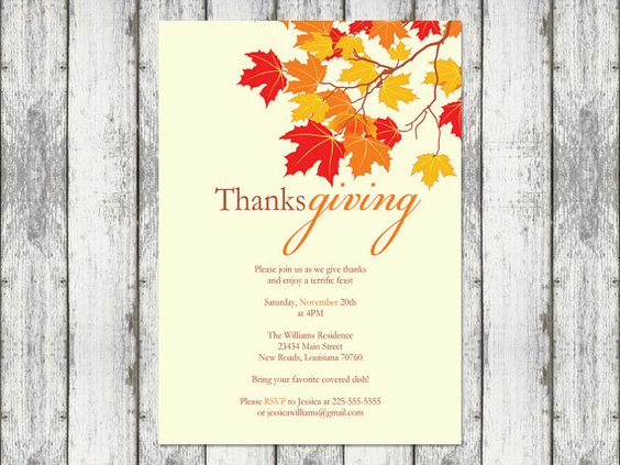 Simple and lovely Thanksgiving invite