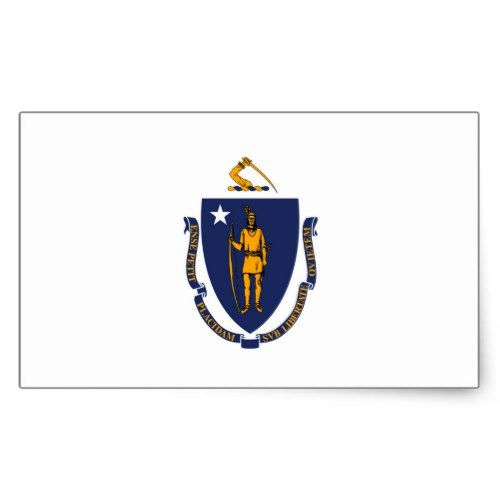Massachusetts State Flag Design Rectangular Sticker Zazzle Com