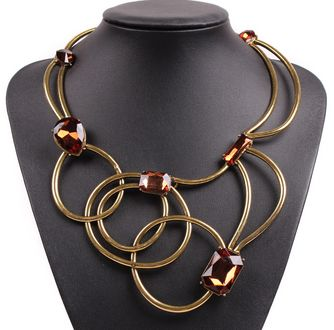 new arrival fashion model design vintage circle metal crystal bib statement chunky alloy necklace for women bib jewelry Item specifics Fine or Fashion: Fashion Item Type: Necklaces Style: Trendy Neckl