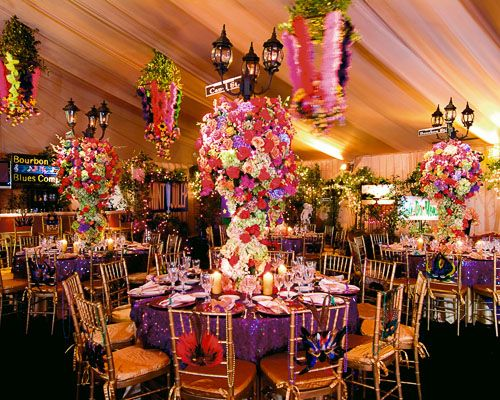 Mardi Gras theme center pieces #amazing