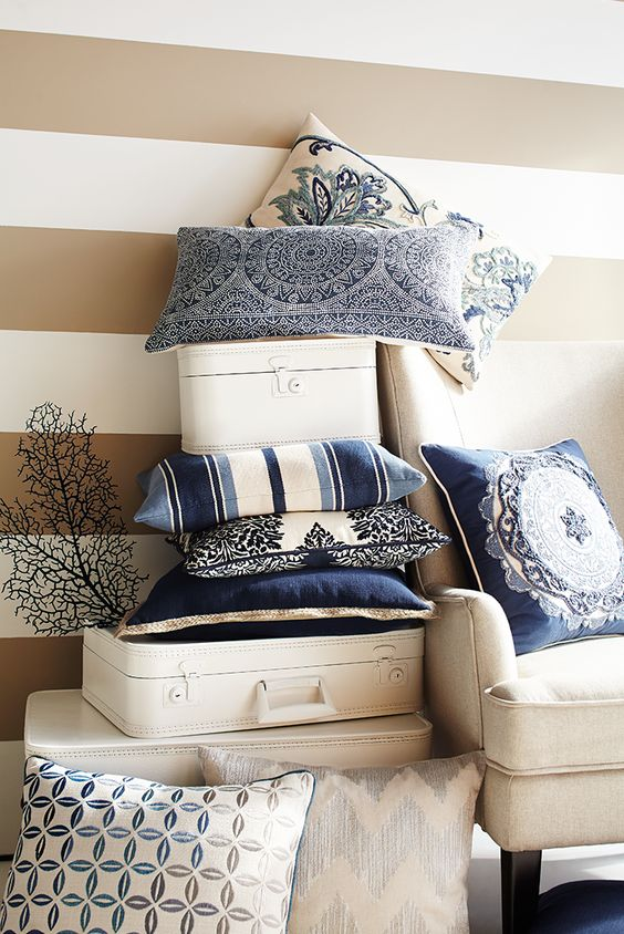 Looking for ideas to refresh a room? Rediscover a classic look in crisp blue and white. Explore some of our favorite pillow selections for inspiration, and, as always at Pier 1, feel free to come up with your own combinations.: