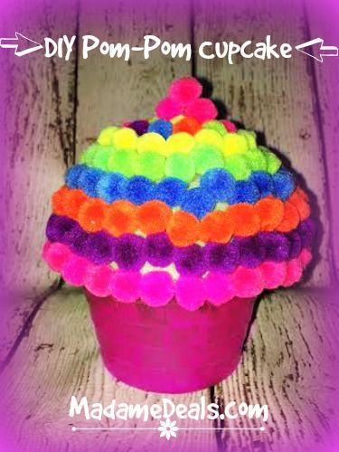 Cupcake Party Ideas: DIY Pom-Pom Cupcake http://madamedeals.com/cupcake-party-ideas-diy-pom-pom-cupcake/ #cupcakes #inspireothers #crafts