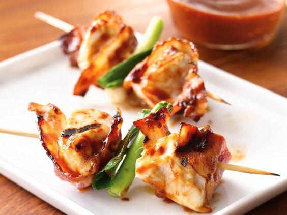Grilled Barbecued Bacon-Chicken Skewers: Skewer Recipes, Grilled Bbq, Bbq Bacon, Bacon Chicken, Chicken Skewers, Food Drink, Barbecued Bacon, Grilled Barbecued